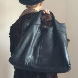 Handtasche Leder, schwarz